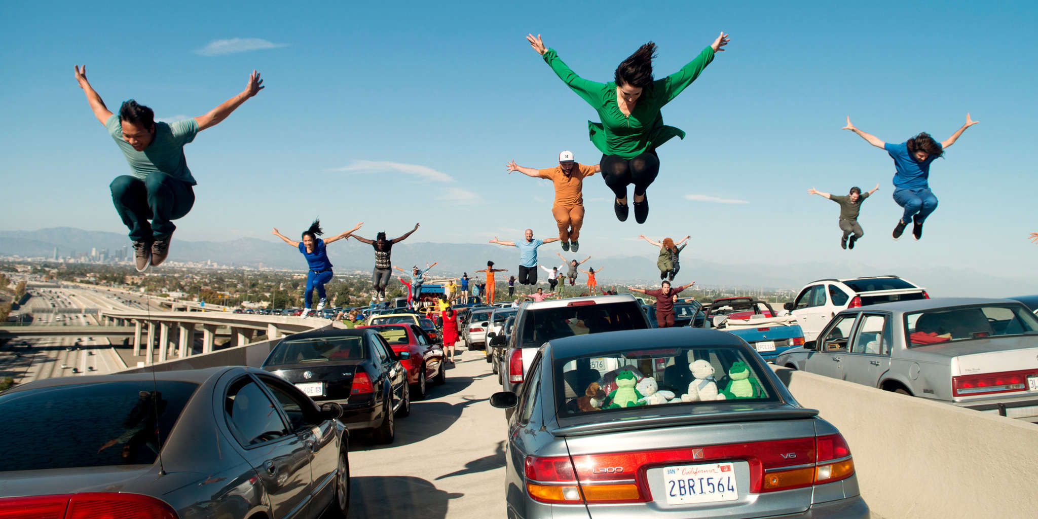 "The L.A. freeway rush-hour, bumper-to-bumper, song-and-dance extravaganza from ""La La Land,"" written and directed by Haverford native Damien Chazelle."
