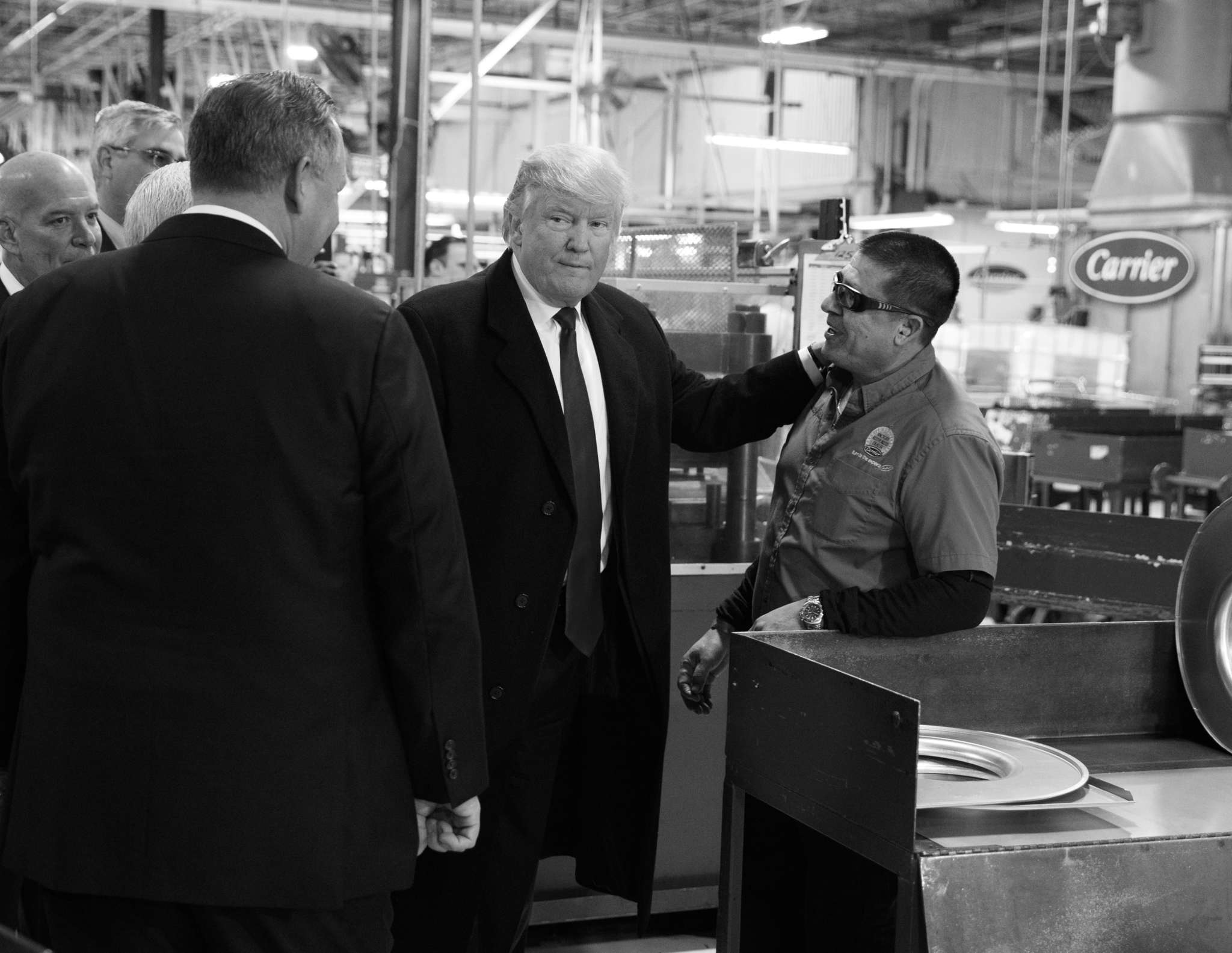 President-elect Donald Trump talking with workers last week at the Carrier Corp. furnace plant in Indianapolis.