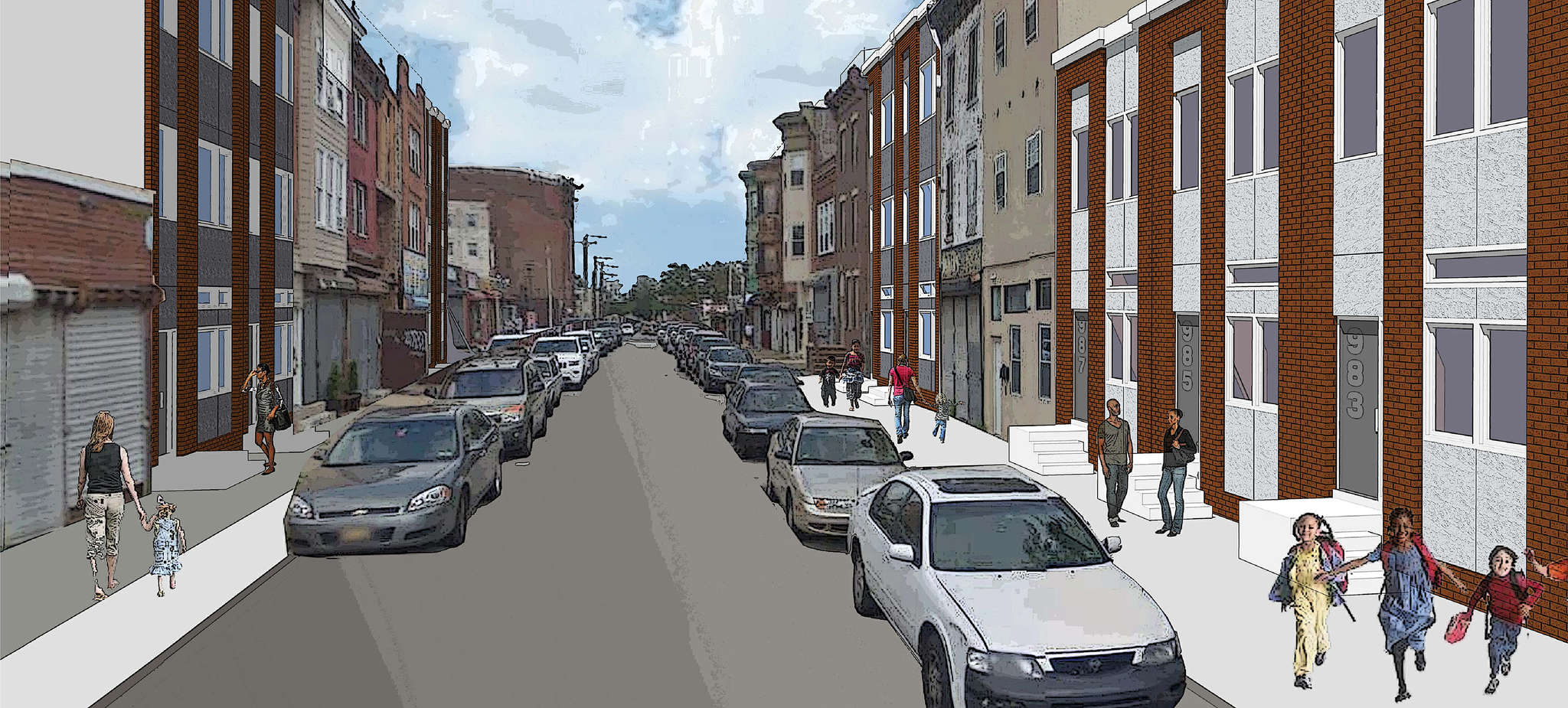 The 13 units of housing that will be built on North Marshall Street are depicted in an artist´s rendering.