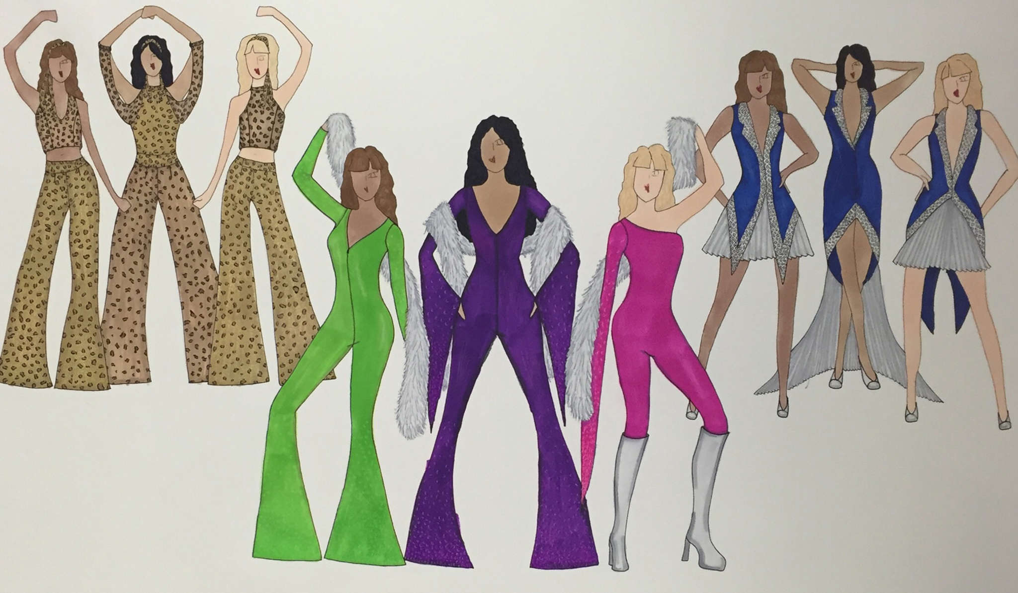 Holly McCaffrey´s designs for the costumes. The illustrations will be on display at the Merriam Theater during the run.