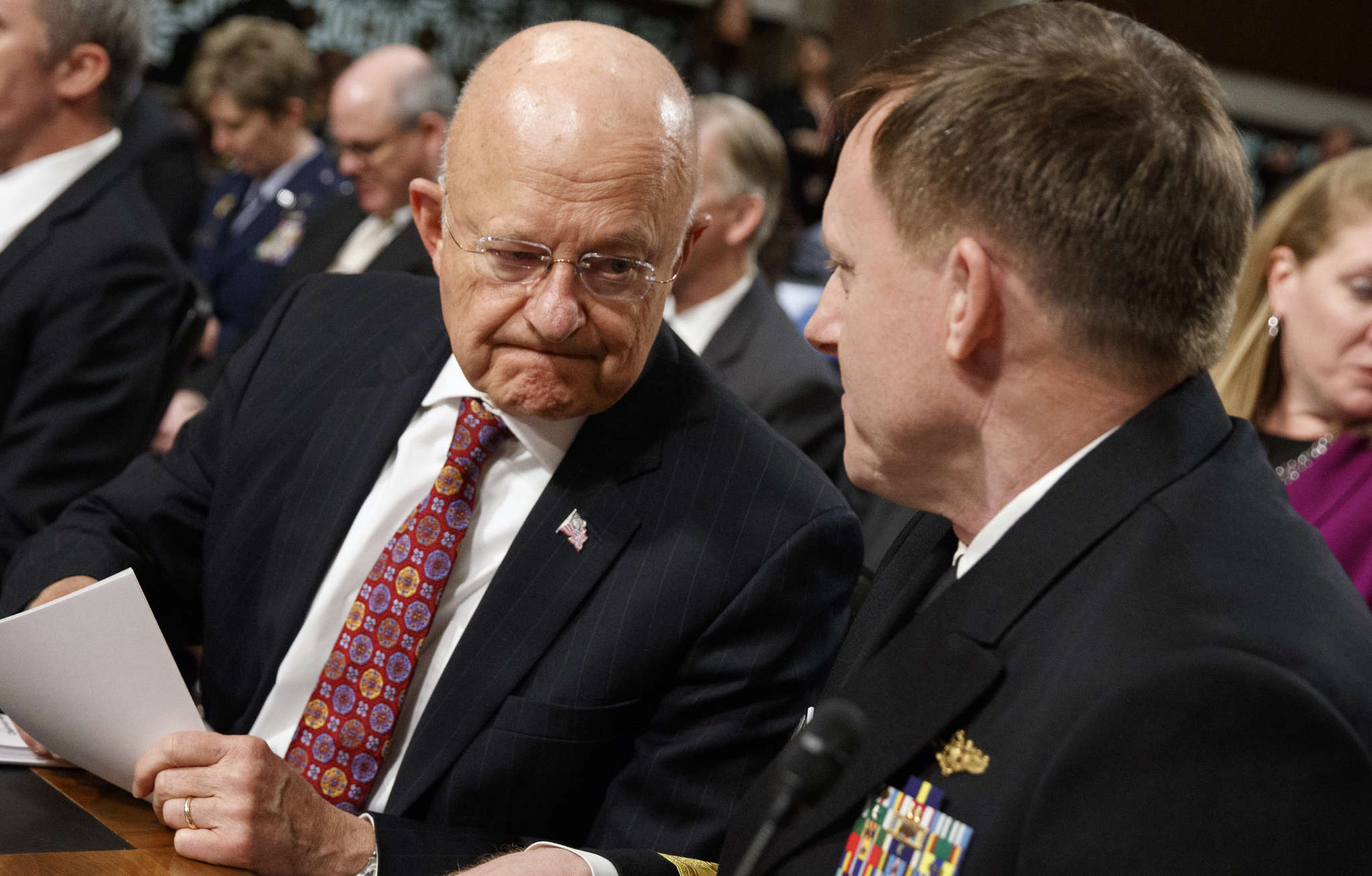At last week´s Senate hearing, national intelligence chief James Clapper (left) and Adm. Michael Rogers, head of cyber command.