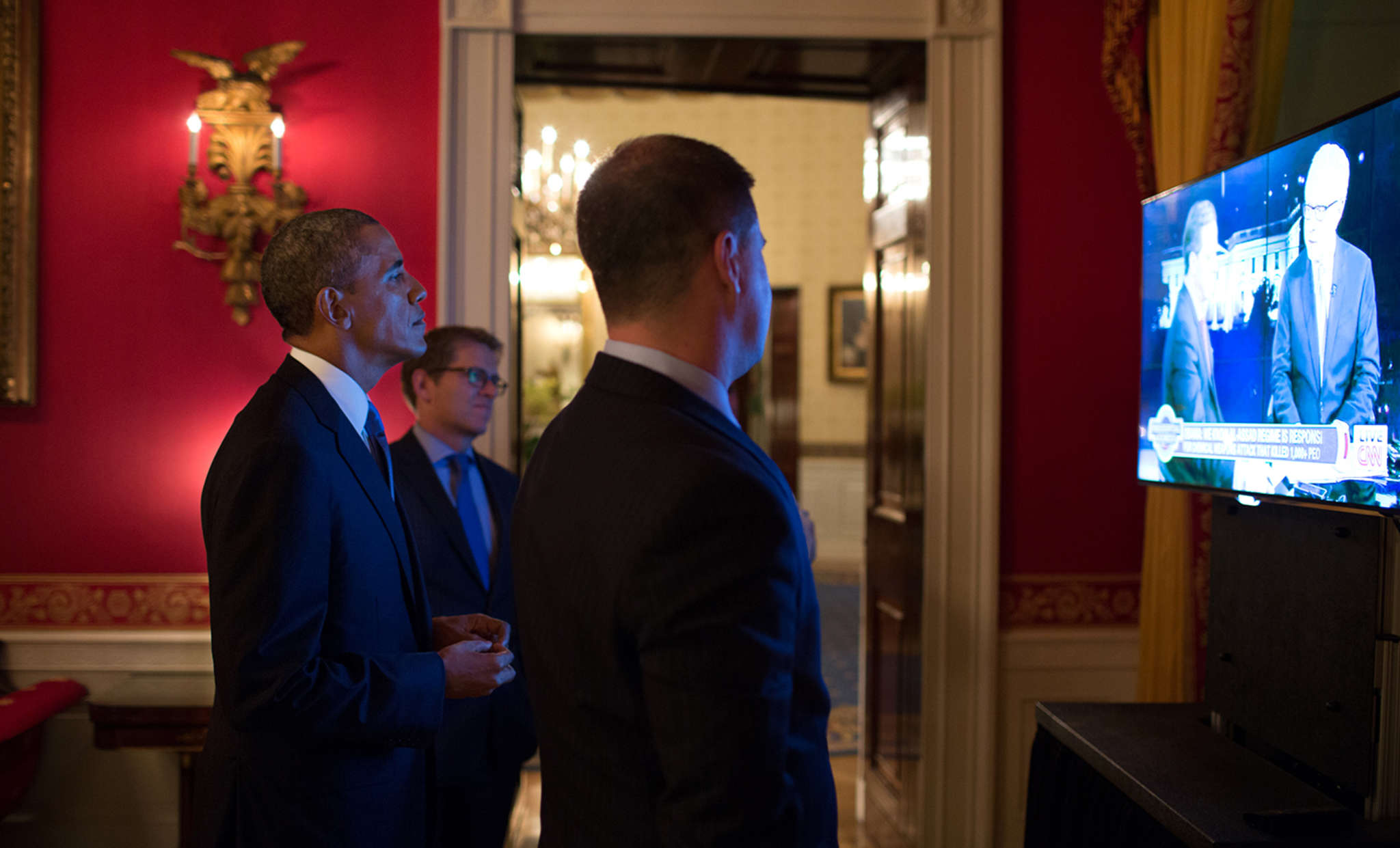 President Obama and aides watching television coverage after his September 2013 address to the nation about the civil war in Syria.