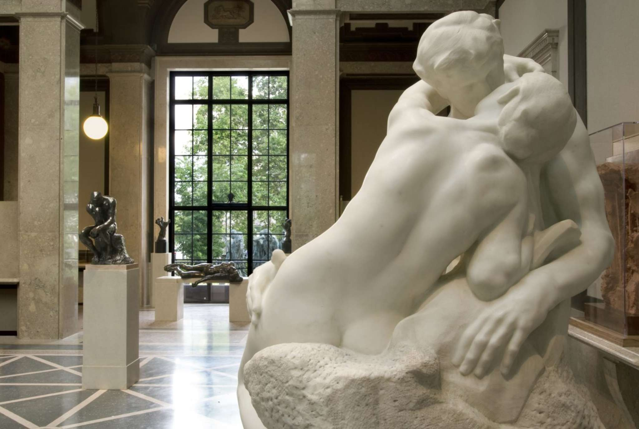 """This is the marble replica of the sculpture """"The Kiss"""" that stands in the Parkway galleries of Philadelphia´s Rodin Museum. The original is on display in the Musee Rodin in Paris. A bronze cast created a legal battle."""