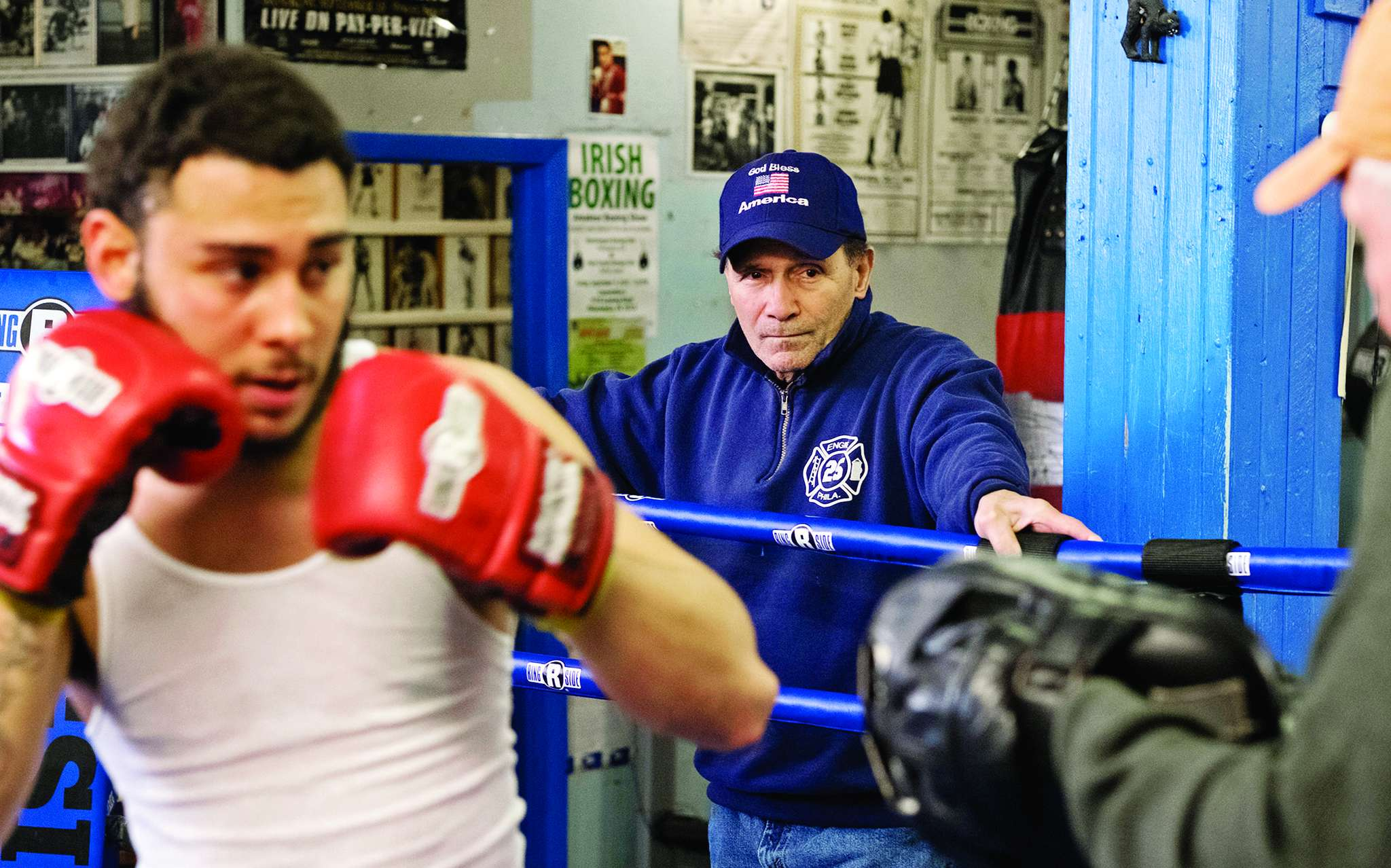 Charlie Sgrillo has run the Harrowgate boxing gym in Kensington for nearly 50 years, but he could lose it in a business dispute. Here he trains Andy Martinez, 17.
