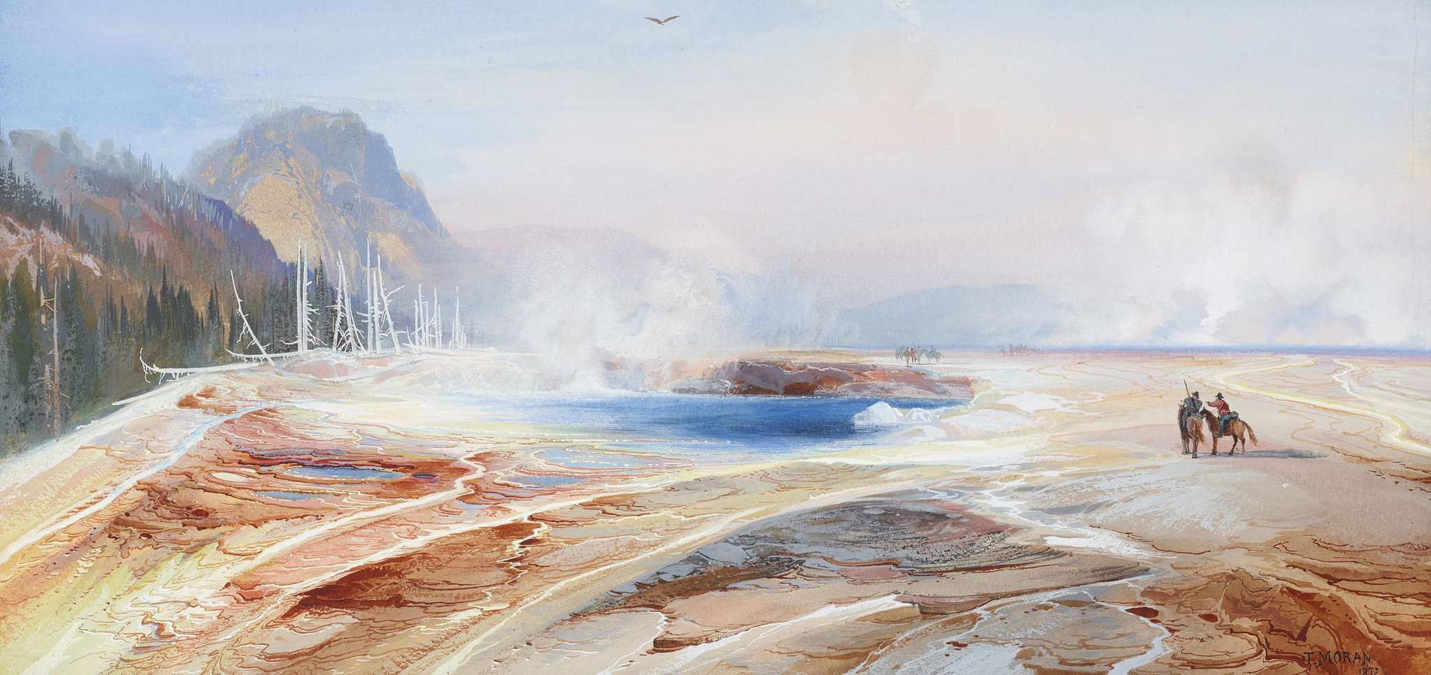 """""""Big Springs in Yellowstone Park"""" (1872), by Thomas Moran, among the Philadelphia Art Museum´s """"American Watercolor in the Age of Homer and Sargent,"""" opening March 1."""