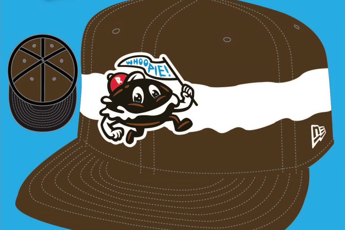 A promotional image of the hat the Reading Fightin´ Phils will wear when they rename themselves the Reading Whoopies for their game on August 7, as a salute to the Whoopie Pie.