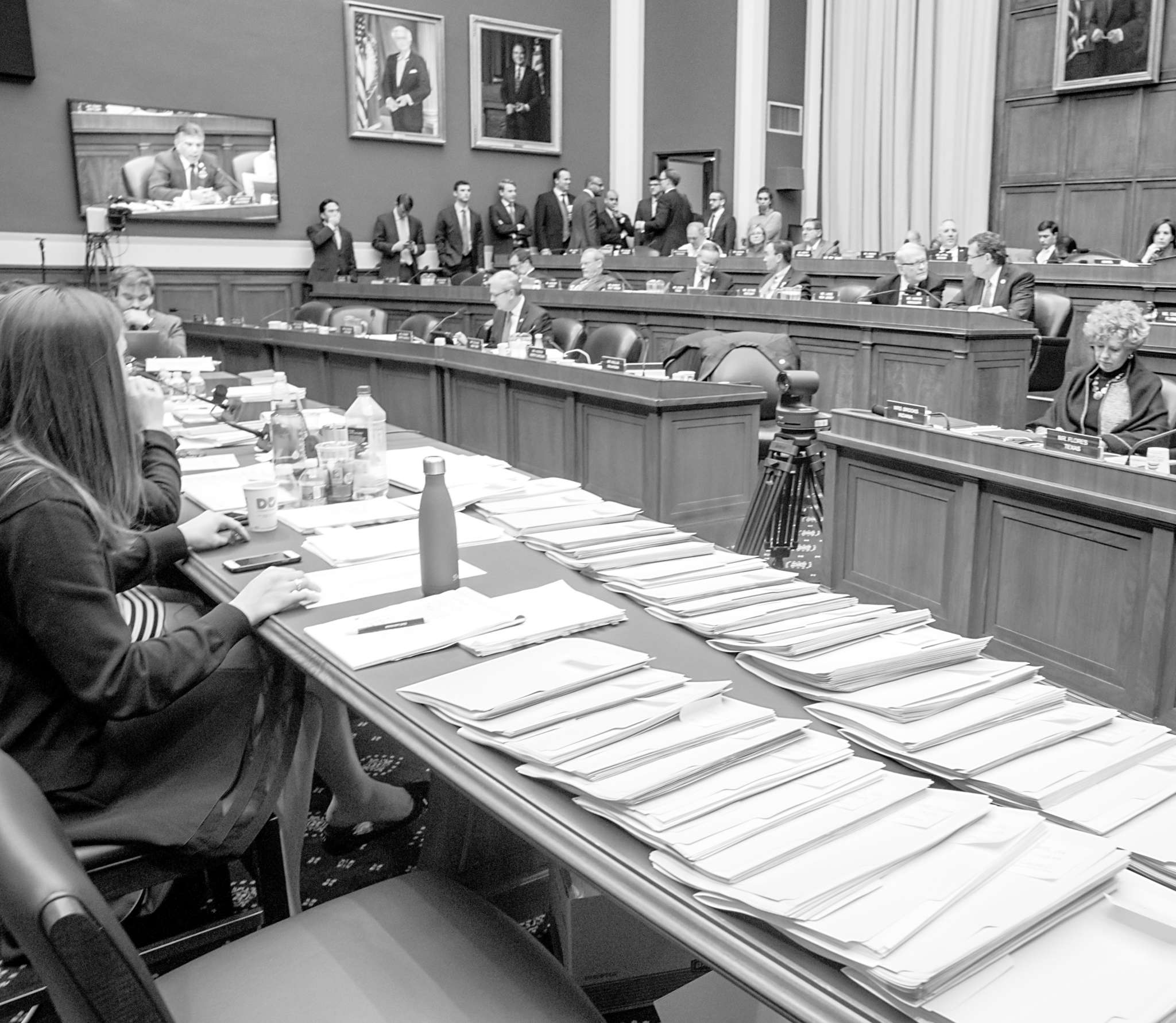 Folders with amendments to the GOP´s health-care bill are spread over a conference table on Capitol Hill.