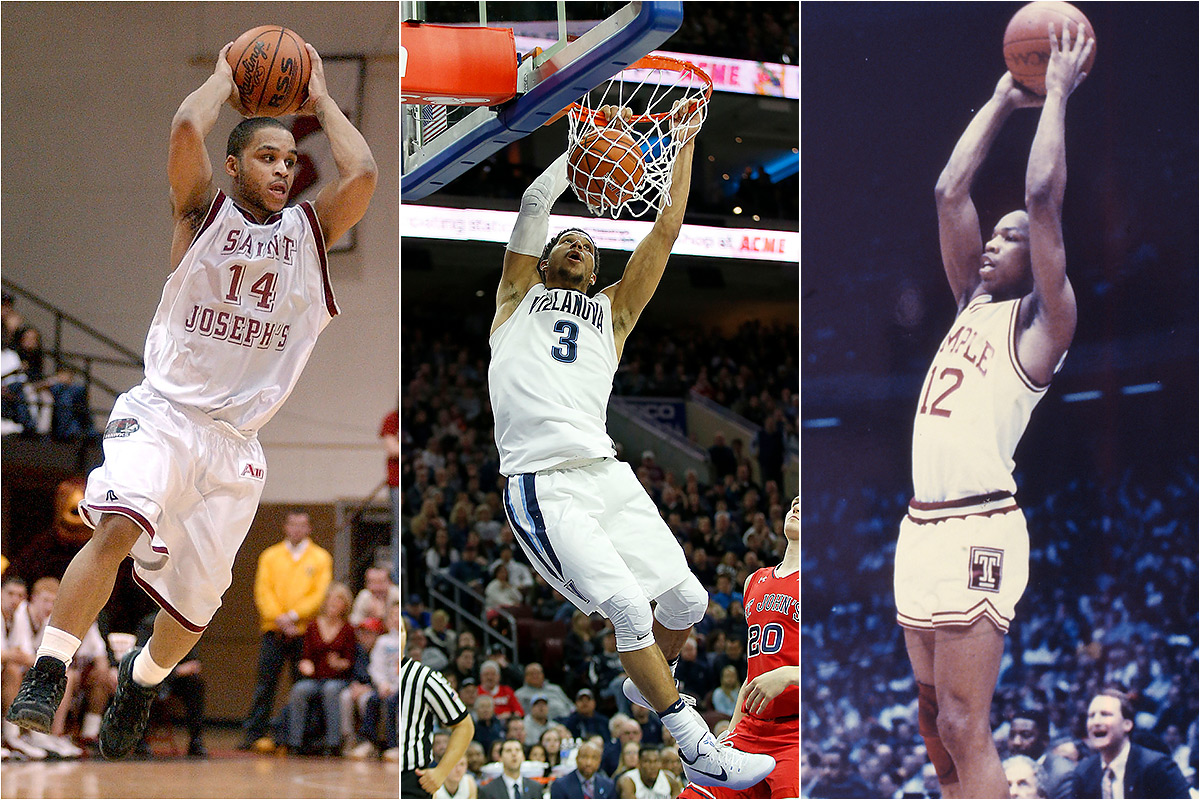 Jameer Nelson of St. Joseph´s (left), Josh Hart of Villanova (center) and Mark Macon of Temple (right) led their teams to No. 1 rankings in the Associated Press men´s college basketball top 25 poll.
