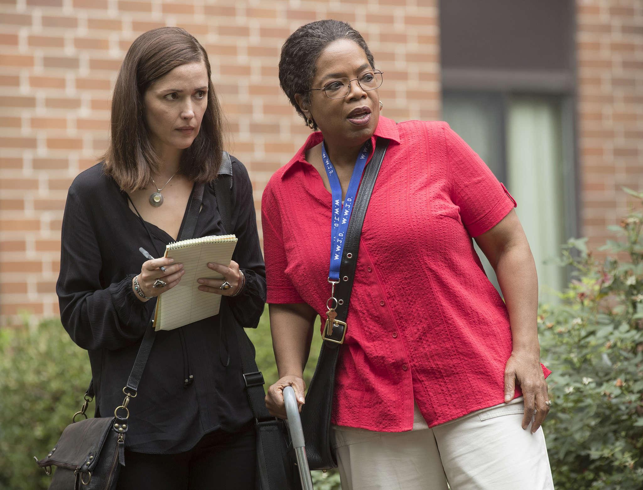 """The Immortal Life of Henrietta Lacks"" stars Rose Byrne (left) as author Rebecca Skloot and Oprah Winfrey as Deborah Lacks Pullman."