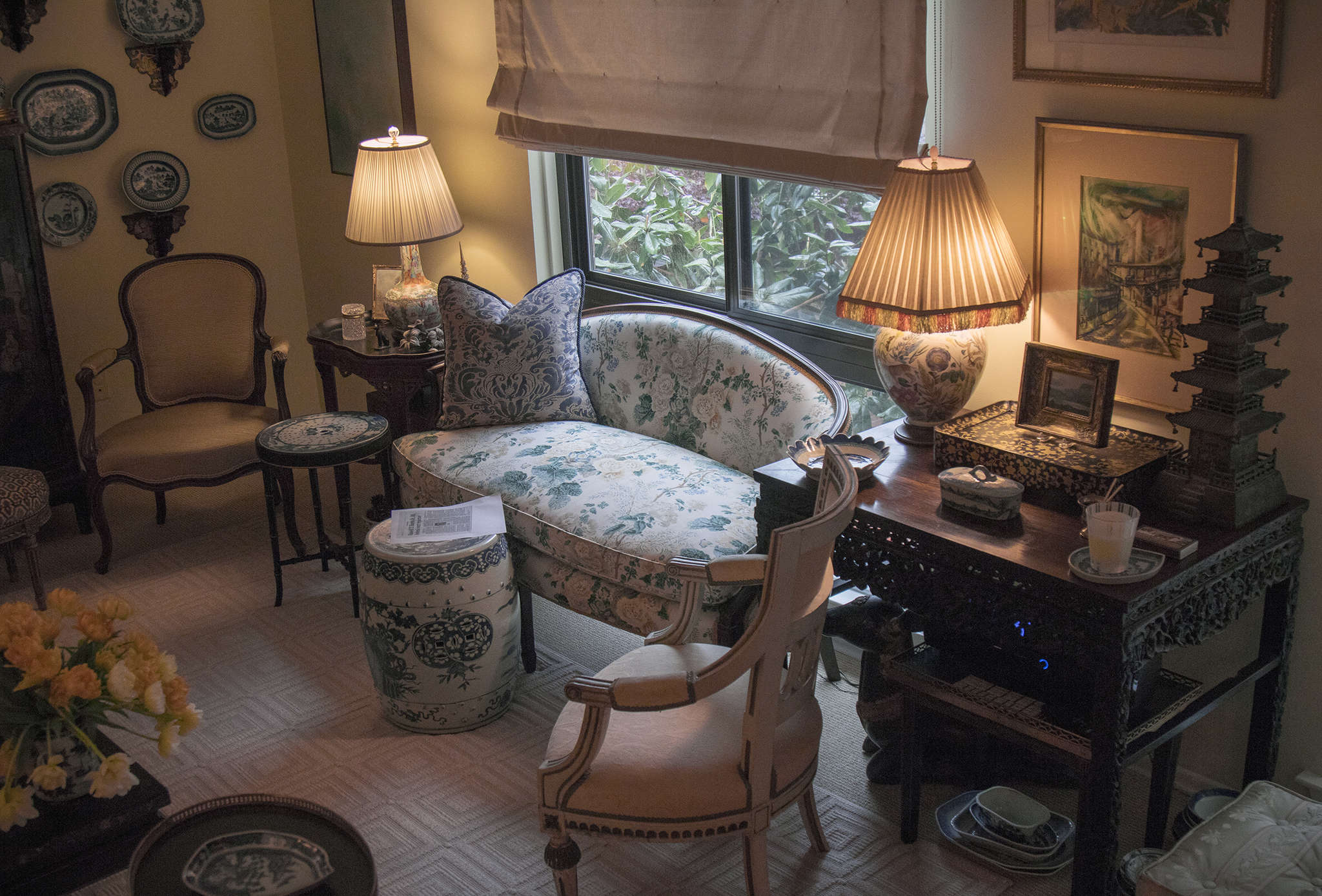 Bill Armstrong´s living room. His collection of furnishings had to be carefully culled before he was able to move in.