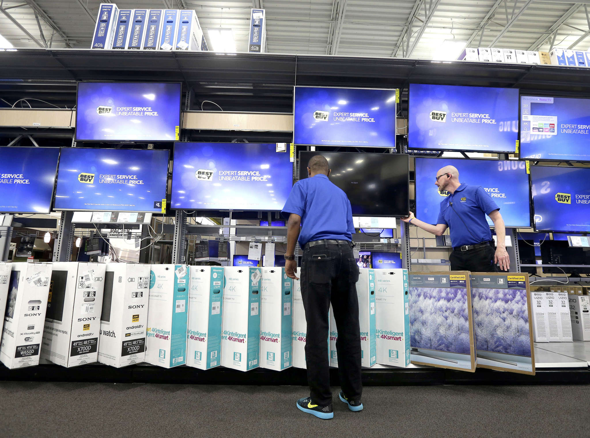 "A Best Buy store in Cary, N.C. Rather than a bricks-and-mortar chain, Best Buy calls itself ""a multichannel retailer."""