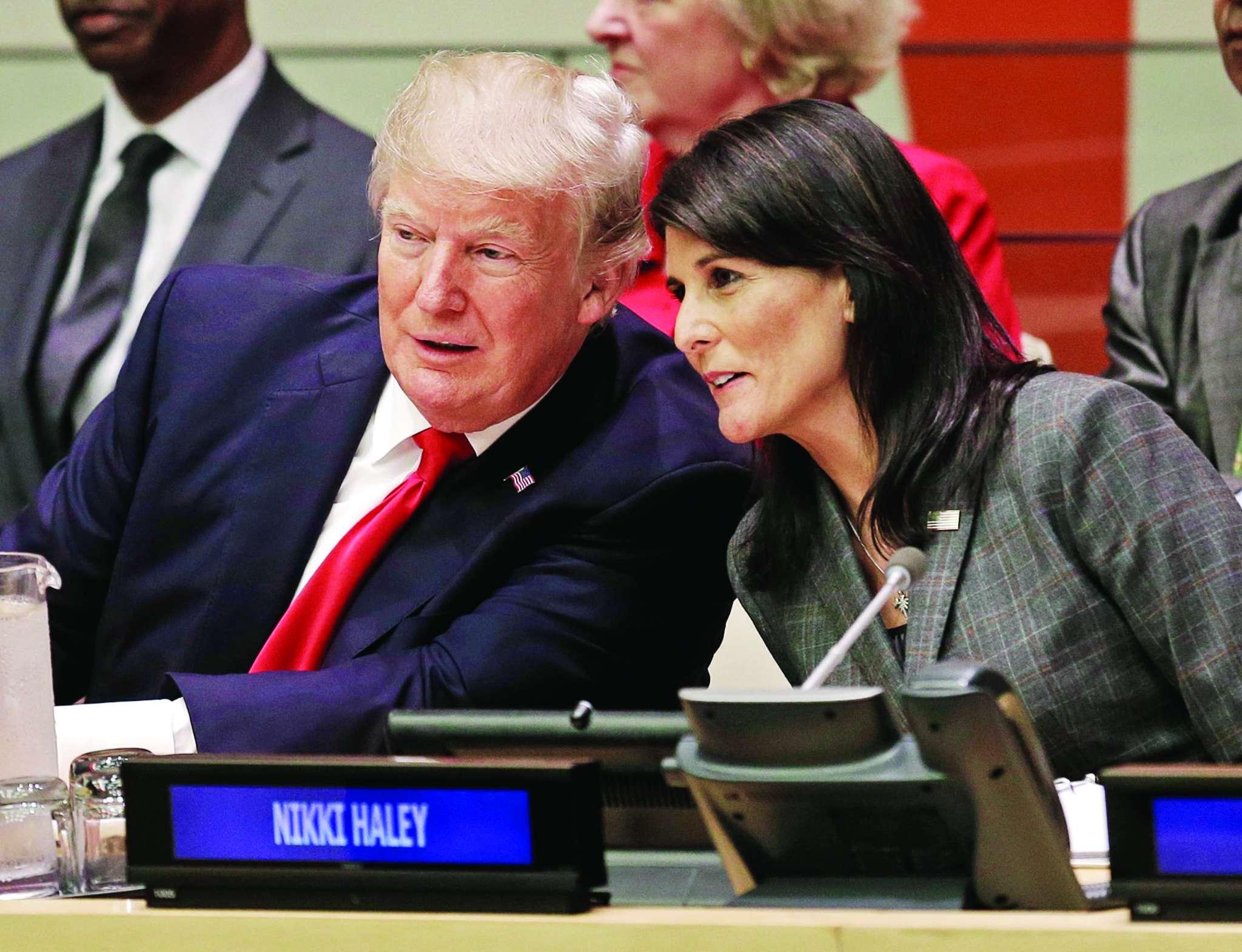 President Trump speaks with Nikki Haley, U.S. ambassador to the U.N.