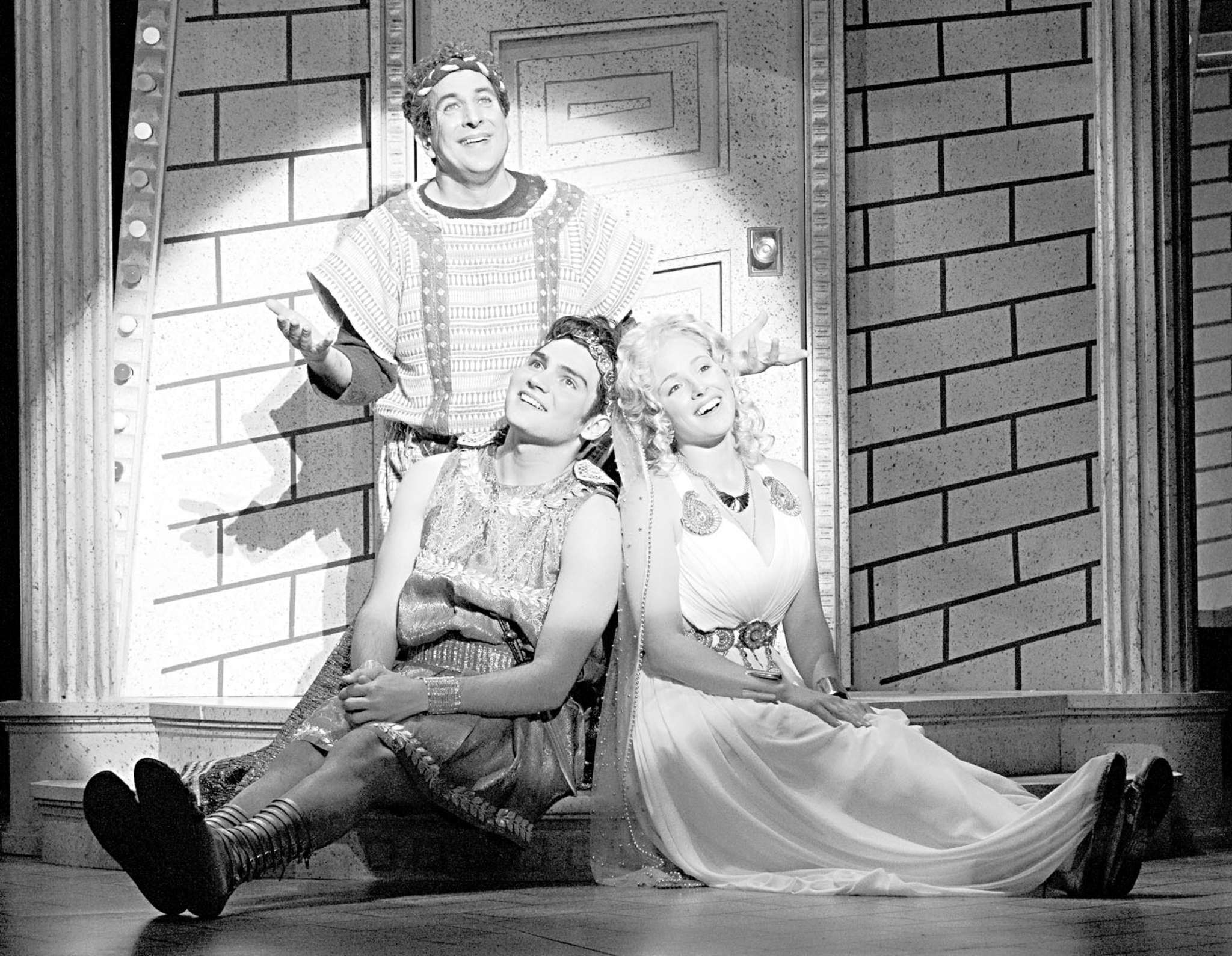 """A Funny Thing Happened on the Way to the Forum"": Brandon O´Rourke (rear), Frank Ferrante, and Alanna J. Smith in the Walnut Street Theatre production."