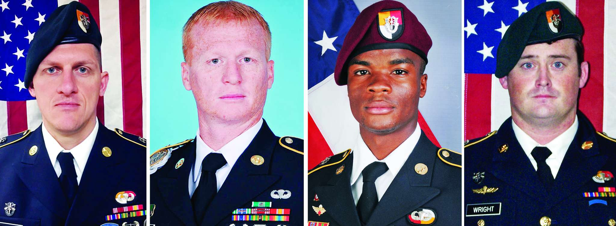 Pictured from left are Staff Sgt. Bryan C. Black, 35, of Puyallup, Wash.; Staff Sgt. Jeremiah W. Johnson, 39, of Springboro, Ohio; Sgt. La David Johnson of Miami Gardens, Fla.; and Staff Sgt. Dustin M. Wright, 29, of Lyons, Ga. All four were killed in a Niger ambush.