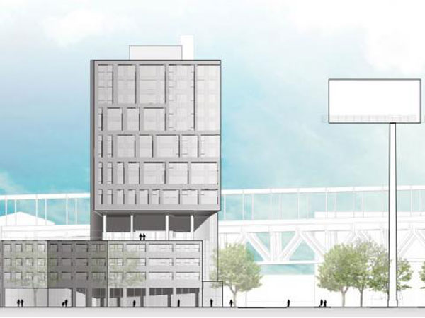 A sketch of the proposed multi-use apartment complex proposed at 205 Race Street facing north. The plans now accommodate visibility of a nearby billboard.