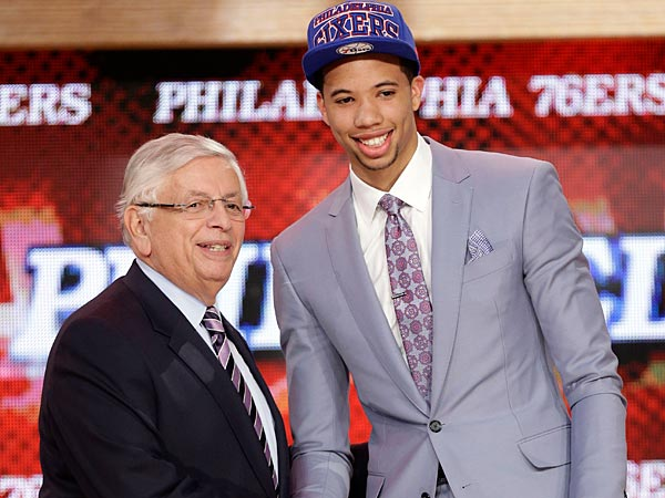 NBA Commissioner David Stern, left, shakes hands with Michael Carter-Williams, who was selected by the 76ers in the first round of the 2013 NBA Draft. (Kathy Willens/AP)