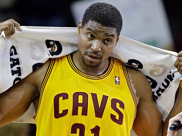 Cleveland Cavaliers´ Andrew Bynum after an NBA basketball game against the Chicago Bulls Saturday, Nov. 30, 2013, in Cleveland. (AP Photo/Mark Duncan)