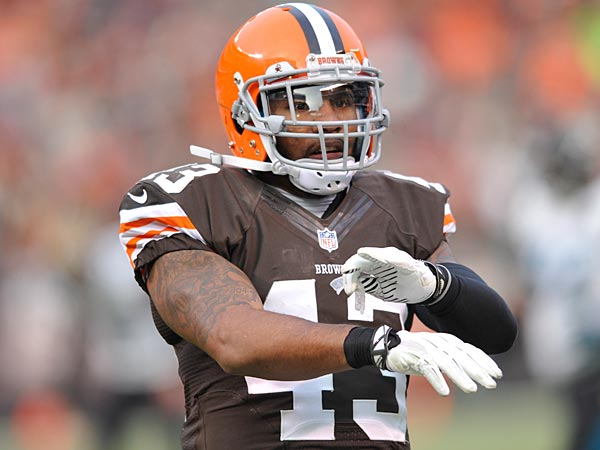 Cleveland Browns strong safety T.J. Ward during an NFL football game against the Jacksonville Jaguars Sunday, Dec. 1, 2013, in Cleveland. Jacksonville won 32-28. (AP Photo/David Richard)