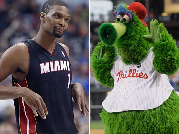 Chris Bosh photo (AP Photo/LM Otero), Phillie Phanatic photo (AP Photo/Matt Slocum).