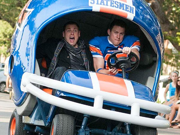 """Jonah Hill, left, and Channing Tatum reteam in """"Jump Street"""" a sequel to their 2012 undercover cop action comedy. (Columbia Pictures)"""