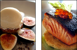Left: Figs with honey ice cream. Right: Scottish salmon.                                      (Vicki Valerio/Inquirer)