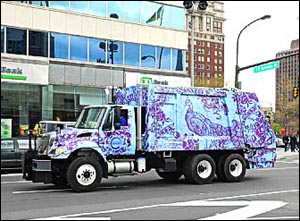 One of the city´s colorfully-decorated recycling trucks.