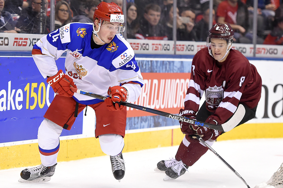 Mikhail Vorobyov (left) in action for Russia at the World Junior Hockey Championships in Toronto in December. Vorobyov, who starred for in the tourney, collecting 10 assists over seven games, also had 11 points in 44 games in Russia's KHL this season.