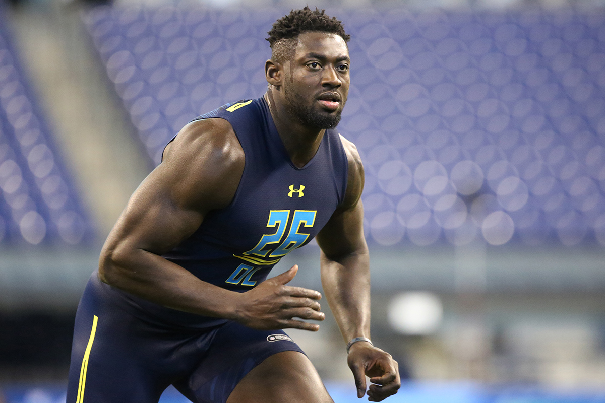 Villanova defensive end Tanoh Kpassagnon competes in a drill at the 2017 NFL football scouting combine Sunday, March 5, 2017, in Indianapolis.