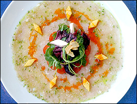 Mahi crudo, an Italianized version of ceviche, is sublime. The minced fish is topped with a salad of smoked mozzarella, polenta croutons, radicchio, fried garlic chips, and microgreens.                                      (Bonnie Weller/Inquirer)