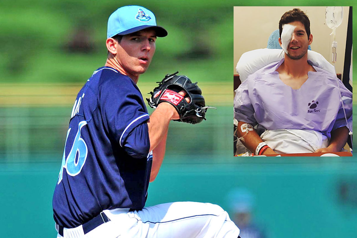 Matt Imhof, pitching for Lakewood in 2014 and (inset) after surgery following  a freak accident after a game with  Clearwater last season.