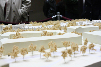 The small model of Villanova University´s expansion on display at a February Board of Commissioners meeting won´t be as tiny to residents who say the university´s development is over the top. (Ashley Nguyen / Philly.com)