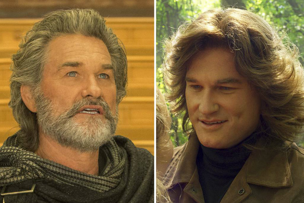 "This combination of images released by Disney-Marvel shows Kurt Russell portraying Ego in scenes from, ""Guardians Of The Galaxy Vol. 2."" A company called Lola Visual Effects is responsible for post-production visual effects which show characters as their younger selves."