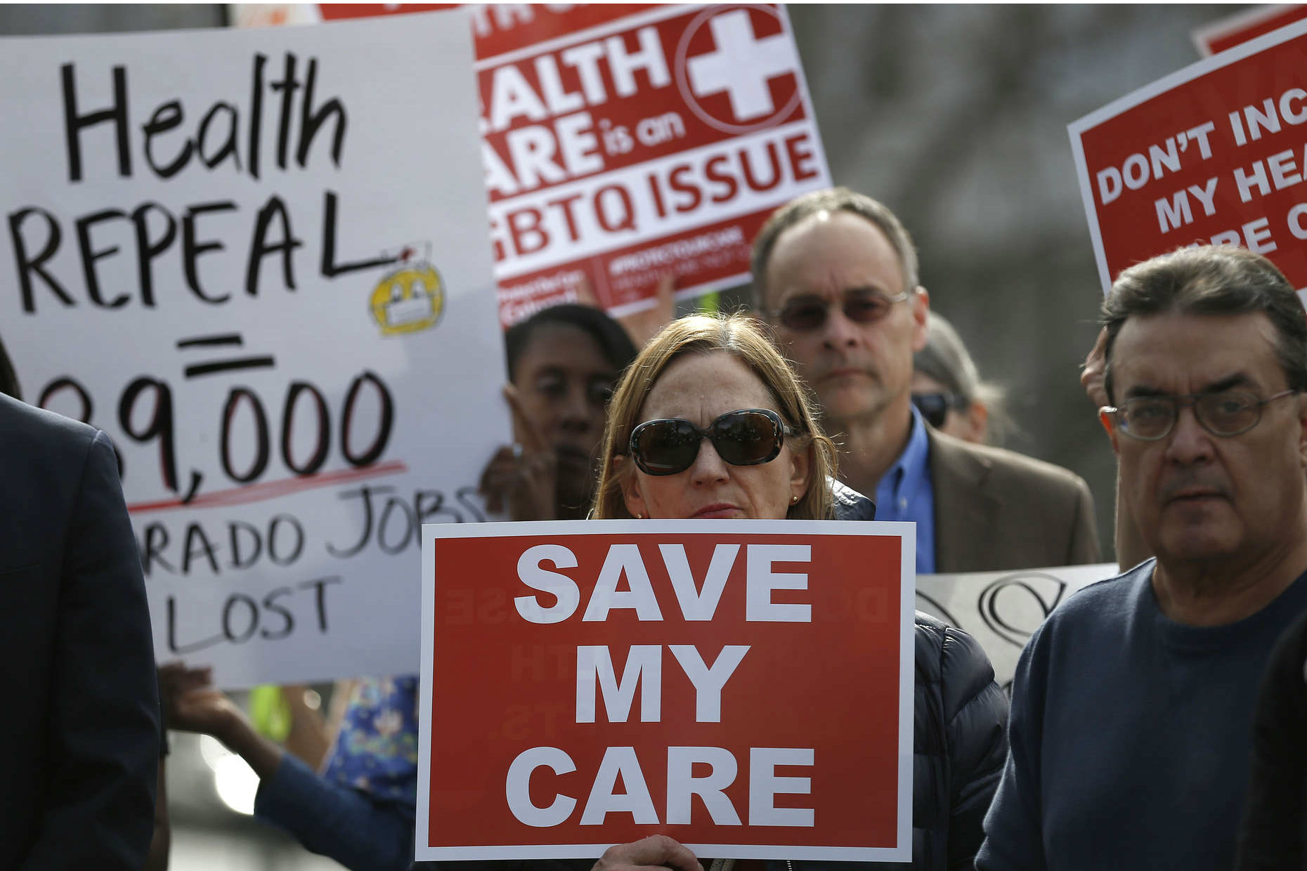 Supporters of the Affordable Care Act demonstrate on the steps of the Colorado Capitol in Denver on Feb. 7.