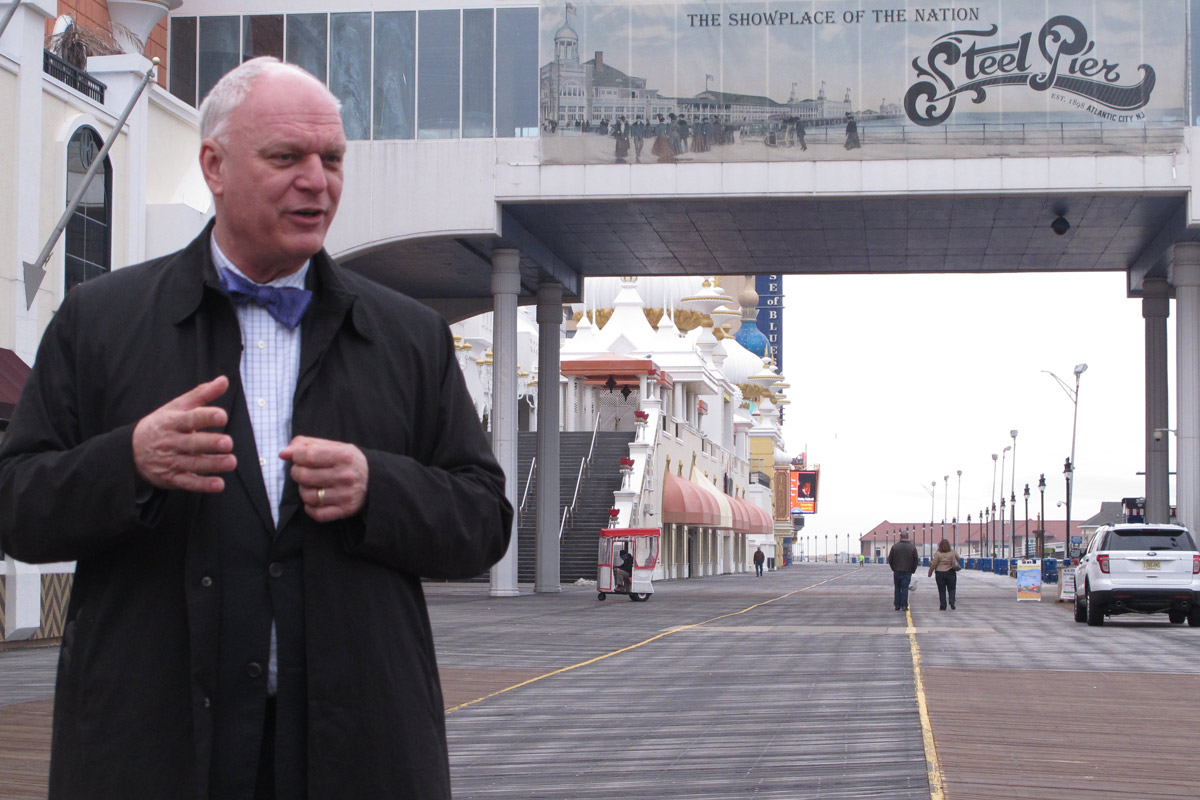 This March 11, 2015 photo shows Mayor Don Guardian on the Atlantic City, N.J. Boardwalk.