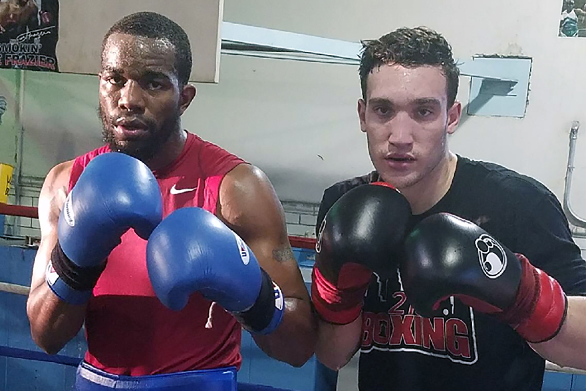 South Philly&acute;s Sonny Conto (right), who will compete in the Pennsylvania Golden Gloves on Saturday, with sparring partner Jesse Hart. <br />