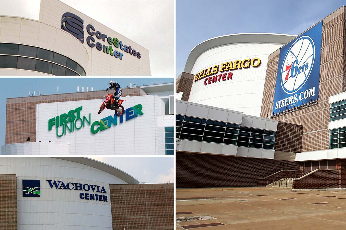 The evolution of names of the arena that is celebrating its 20th anniversary -- from CoreStates Center to the current Wells Fargo Center.