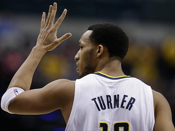 Indiana Pacers´ Evan Turner (12) in action during the first half of an NBA basketball game against the Milwaukee Bucks Thursday, Feb. 27, 2014, in Indianapolis. (AP Photo/Darron Cummings)