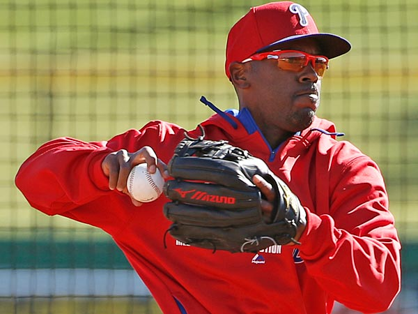 Jimmy Rollins returns to the Phillies lineup after a three day absence. (AP Photo/Kathy Willens, File)