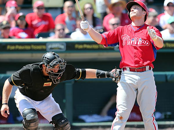 Cody Asche gets tagged by Pittsburgh Pirates´ catcher Russell Martin after Asche struck out to end the sixth-inning. (Yong Kim/Staff Photographer)