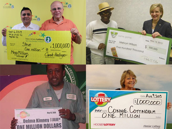 Four people who won two or more lotteries (clockwise from top left): Steven Ontell (right) of Passiac, N.J., with retailer  Bharat Shah; Melvyn Wilson, a four-time winner in Virginia; Connie Cottingham, who won twice in Indiana; and Delma Kinney, who won $1 million twice in Georgia.