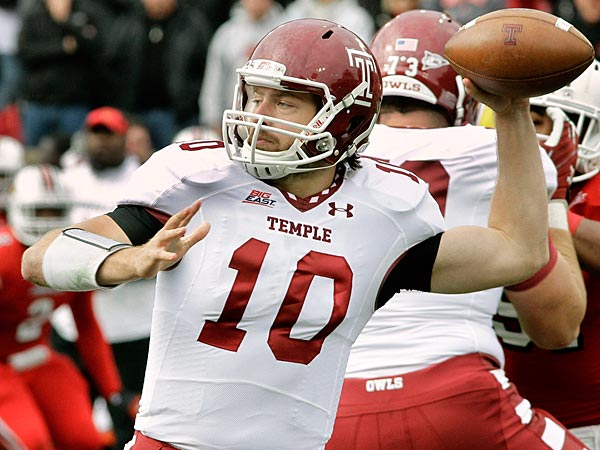 Temple quarterback Chris Coyer (10) prepares to pass against Louisville in a NCAA college football game in Louisville, Ky., Saturday, Nov. 3, 2012. (AP Photo/Garry Jones)