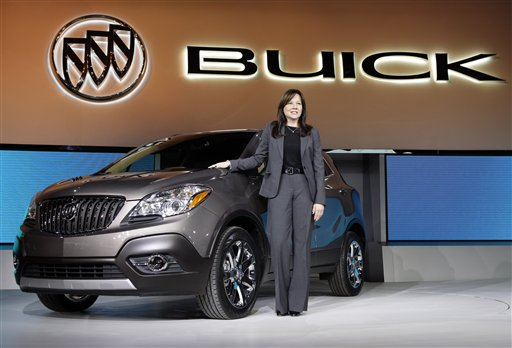 Mary Barra, General Motors Senior Vice President, Global Product Development, introduces the 2013 Buick Encore at the North American International Auto Show in Detroit, Tuesday, Jan. 10, 2012. (AP Photo/Paul Sancya)<br />