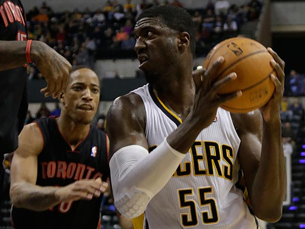 Indiana Pacers center Roy Hibbert (55) during the second half of an NBA basketball game against the Toronto Raptors in Indianapolis, Tuesday, Jan. 7, 2014. (AP Photo/AJ Mast)