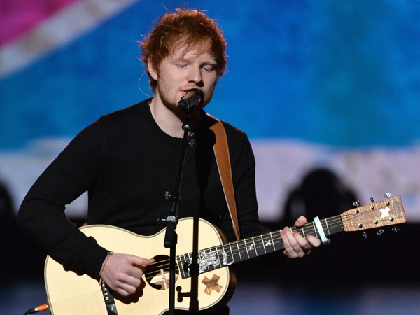 "Recording artist Ed Sheeran performs onstage during ""The Night That Changed America: A GRAMMY Salute To The Beatles"" at the Los Angeles Convention Center on January 27, 2014 in Los Angeles, California.  (Photo by Kevin Winter/Getty Images for NARAS)"