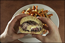Craig LaBan calls this burger - with a wellspring of molten bleu cheese - the best cheeseburger in Philadelphia.