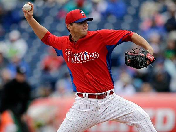 Philadelphia Phillies´ Justin De Fratus in action during a spring training exhibition baseball game against the Toronto Blue Jays, Sunday, March 3, 2013, in Clearwater, Fla. (AP Photo/Matt Slocum)