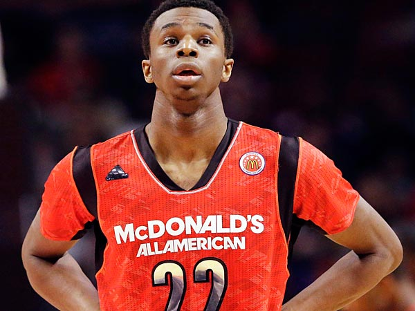 Andrew Wiggins, who committed to Kansas on Tuesday afternoon, is an extremely versatile wing player, and has drawn on-court comparisons to Hall-of-Famer, Scottie Pippen. (Nam Y. Huh/AP)