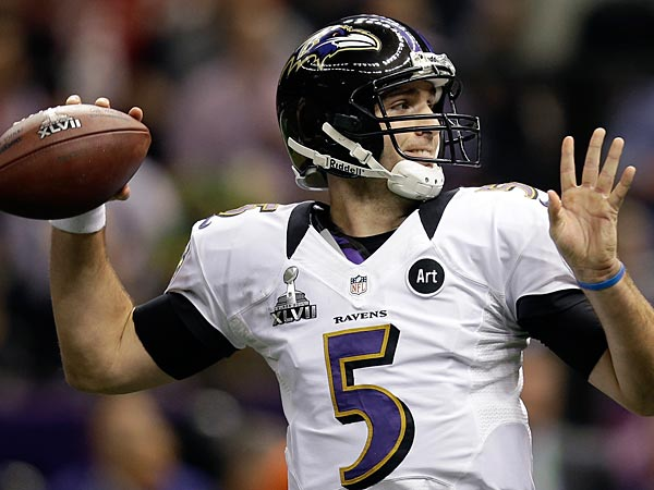 Baltimore Ravens quarterback Joe Flacco (5) throws a pass during the first half of the NFL Super Bowl XLVII football game against the San Francisco 49ers Sunday, Feb. 3, 2013, in New Orleans. (AP Photo/Evan Vucci)