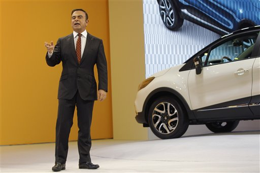 CEO of Renault and Nissan Carlos Ghosn delivers a speech to present the new Renault Captur during the first media day of the 83rd Geneva International Motor Show, Switzerland, Tuesday, March 5, 2013. The Motor Show will open its gates to the public from March 7 to 17.  (AP Photo/Laurent Cipriani)<br />