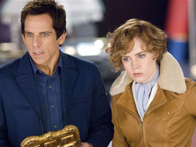 "In this film publicity image released by 20th Century Fox, Ben Stiller and Amy Adams are shown in a scene from ""Night at the Museum: Battle of the Smithsonian."""